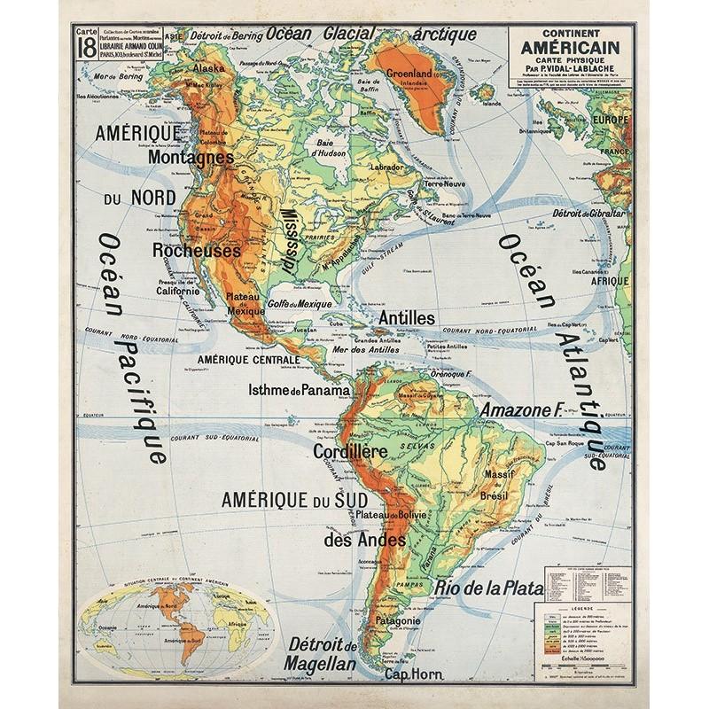 Carte Vidal Lablache 18 - CONTINENT AMERICAIN - PHYSIQUE (reproduction ancienne carte scolaire)
