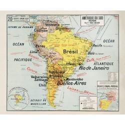 Carte Vidal Lablache 20 - AMERIQUE DU SUD - POLITIQUE (reproduction ancienne carte scolaire)