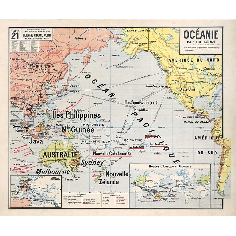Carte Vidal Lablache 21 - OCEANIE (reproduction ancienne carte scolaire)