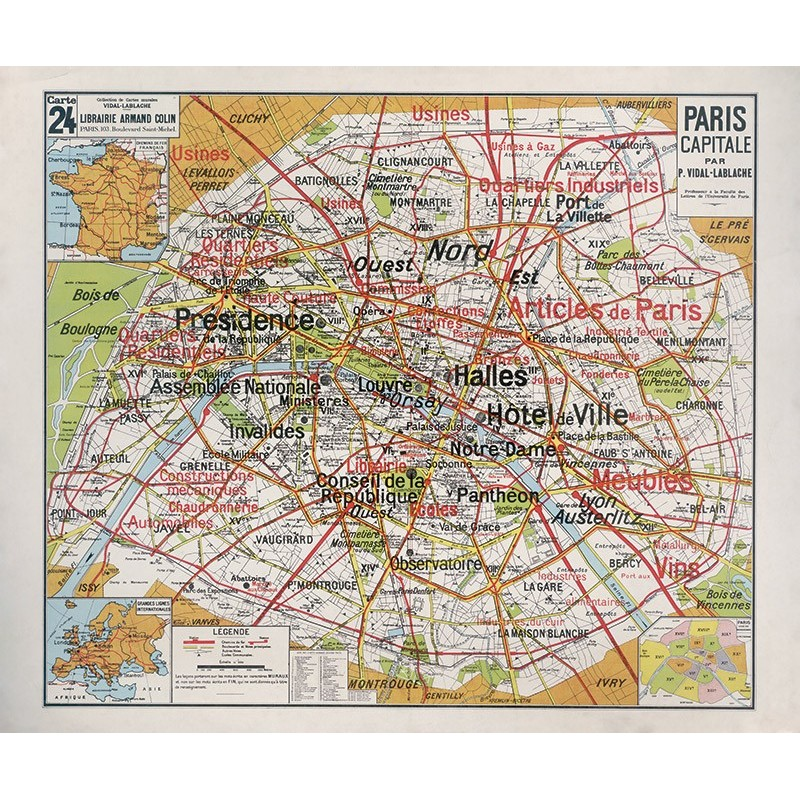 Carte Vidal Lablache 24 - PARIS CAPITALE (reproduction ancienne carte scolaire)