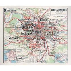 Carte Vidal Lablache 24 BIS - PARIS ET ENVIRONS (reproduction ancienne carte scolaire)