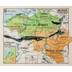 Carte Vidal Lablache 25 - BELGIQUE - PHYSIQUE ET AGRICOLE (reproduction ancienne carte scolaire)