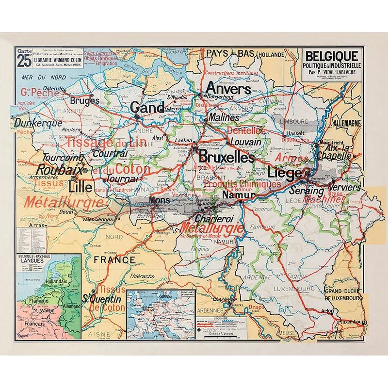 Carte Vidal Lablache 25 BIS - BELGIQUE - POLITIQUE ET INDUSTRIELLE (reproduction ancienne carte scolaire)