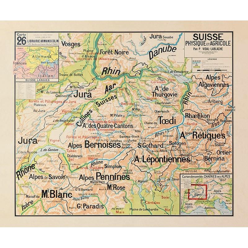Carte Vidal Lablache 26 - SUISSE - PHYSIQUE ET AGRICOLE (reproduction ancienne carte scolaire)