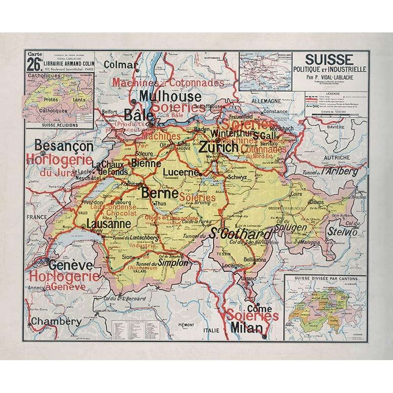Carte Vidal Lablache 26 BIS - SUISSE - POLITIQUE ET INDUSTRIELLE (reproduction ancienne carte scolaire)