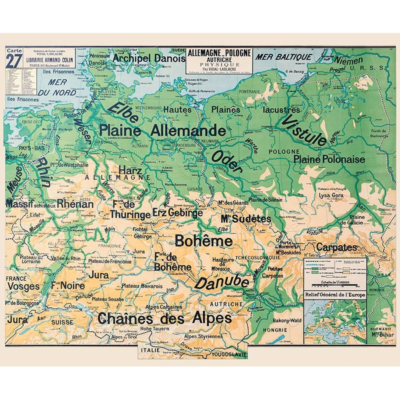Carte Vidal Lablache 27 - ALLEMAGNE POLOGNE AUTRICHE - PHYSIQUE (reproduction ancienne carte scolaire)