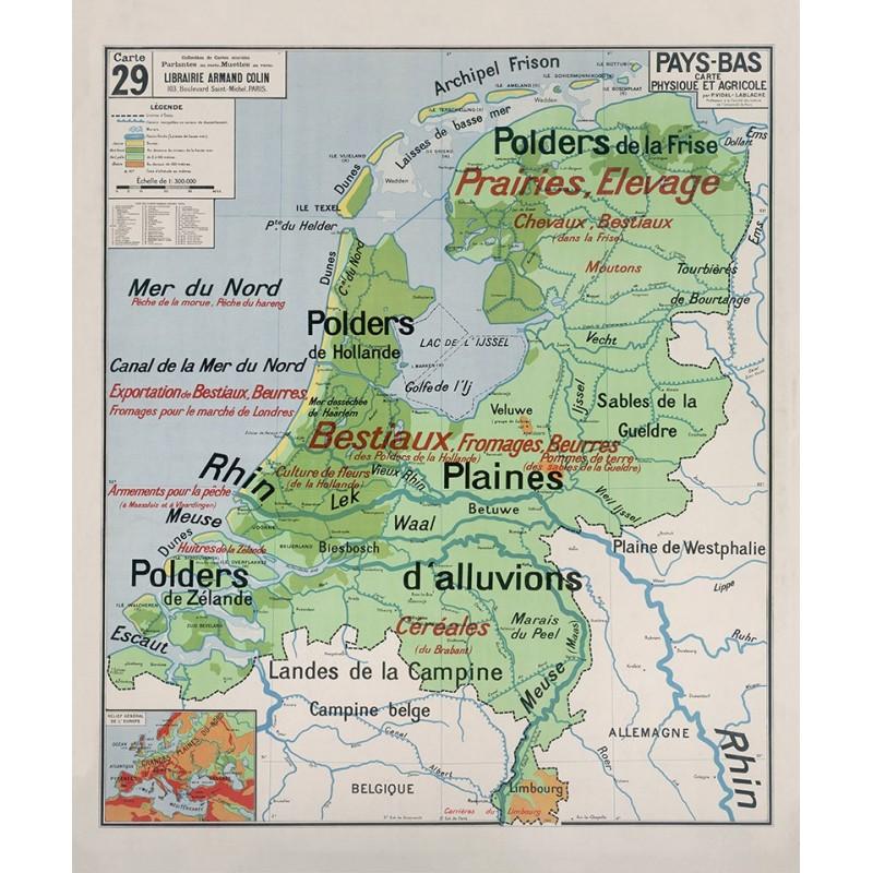Carte Vidal Lablache 29 - PAYS-BAS - PHYSIQUE ET AGRICOLE (reproduction ancienne carte scolaire)