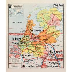 Carte Vidal Lablache 29 BIS - PAYS-BAS - POLITIQUE ET INDUSTRIELLE (reproduction ancienne carte scolaire)