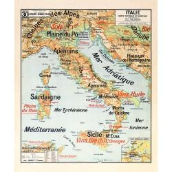 Carte Vidal Lablache 30 - ITALIE - PHYSIQUE ET AGRICOLE (reproduction ancienne carte scolaire)