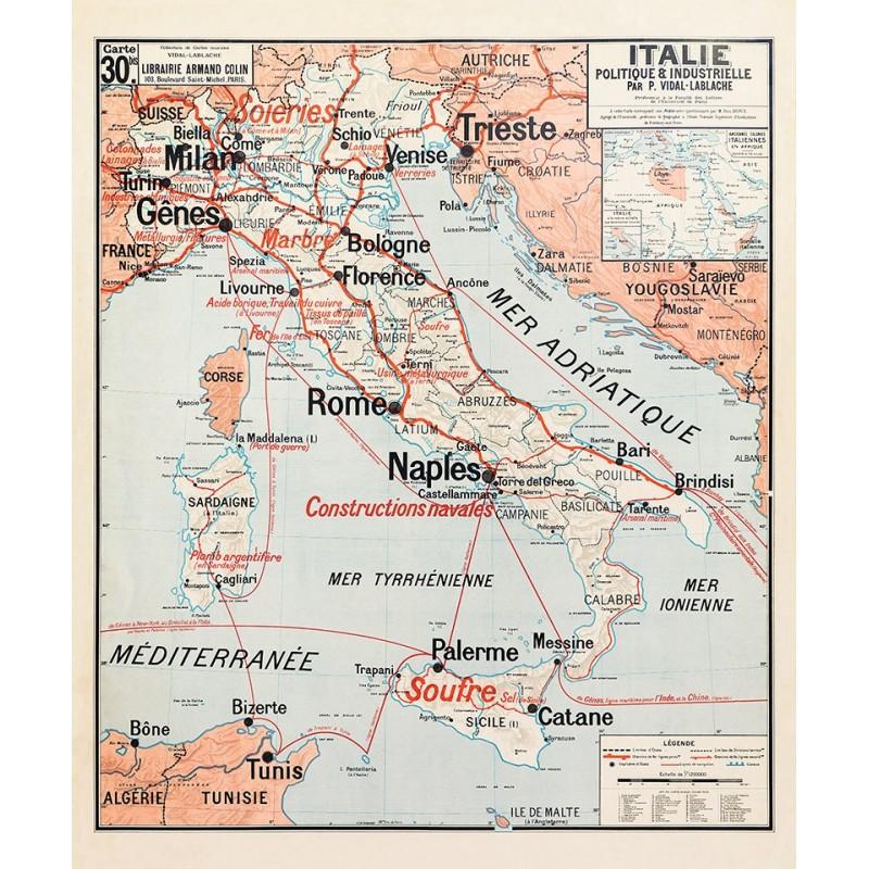 Carte Vidal Lablache 30 BIS - ITALIE - POLITIQUE ET INDUSTRIELLE (reproduction ancienne carte scolaire)