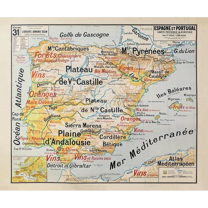Carte Vidal Lablache 31 - ESPAGNE ET PORTUGAL - PHYSIQUE ET AGRICOLE (reproduction ancienne carte scolaire)
