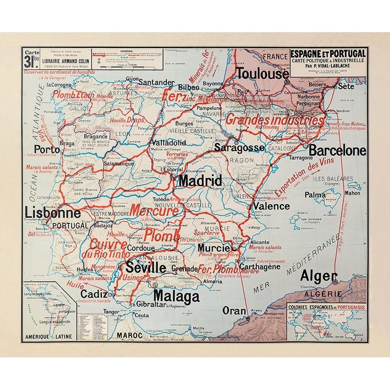 Carte Vidal Lablache 31 BIS - ESPAGNE ET PORTUGAL - POLITIQUE ET INDUSTRIELLE (reproduction ancienne carte scolaire)