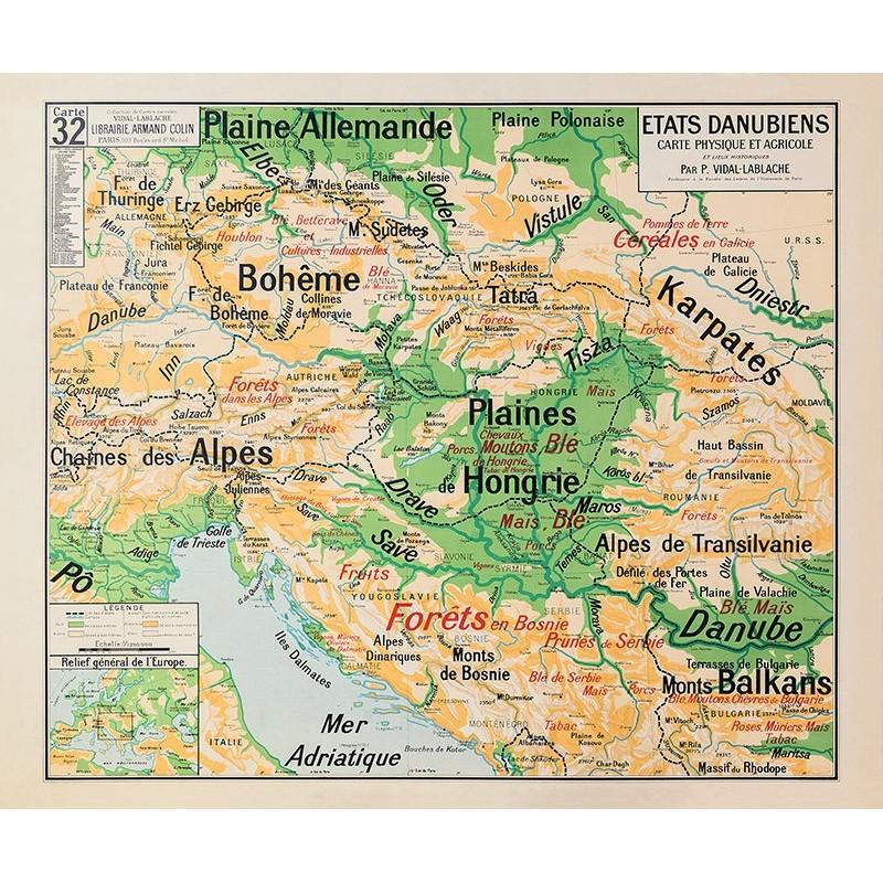 Carte Vidal Lablache 32 - ETATS DANUBIENS - PHYSIQUE ET AGRICOLE (reproduction ancienne carte scolaire)