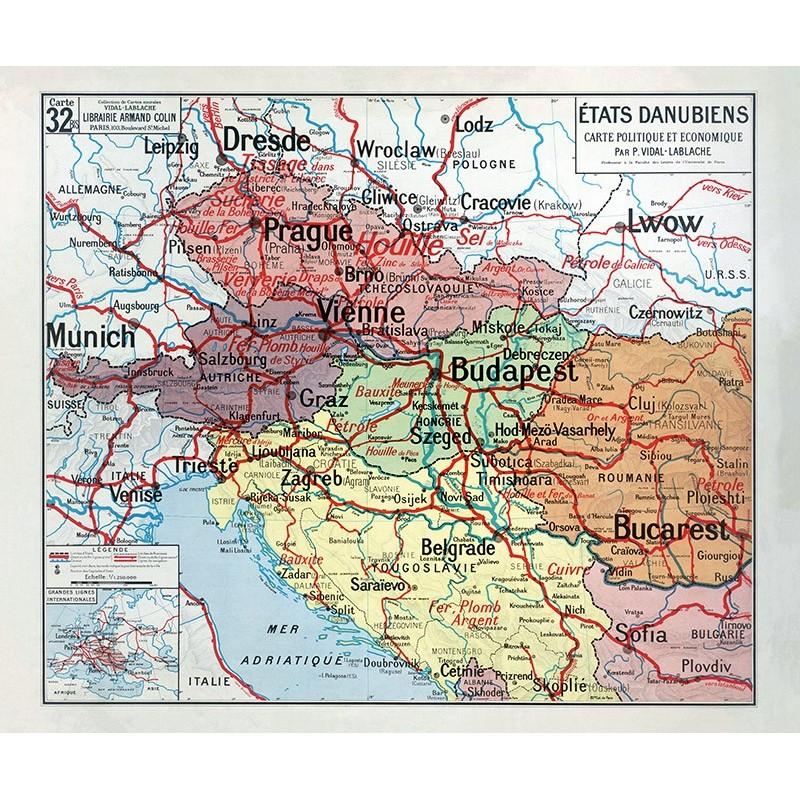 Carte Vidal Lablache 32 BIS - ETATS DANUBIENS - POLITIQUE ET ECONOMIQUE (reproduction ancienne carte scolaire)