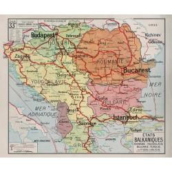 Carte Vidal Lablache 33 BIS - ETATS BALKANIQUES - POLITIQUE (reproduction ancienne carte scolaire)