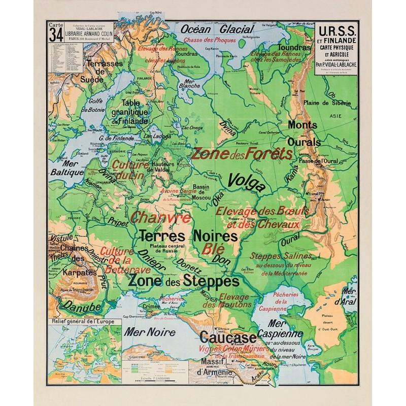 Carte Vidal Lablache 34 - URSS ET FINLANDE - PHYSIQUE ET AGRICOLE (reproduction ancienne carte scolaire)