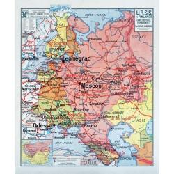 Carte Vidal Lablache 34 BIS - URSS ET FINLANDE - POLITIQUE ET INDUSTRIELLE (reproduction ancienne carte scolaire)