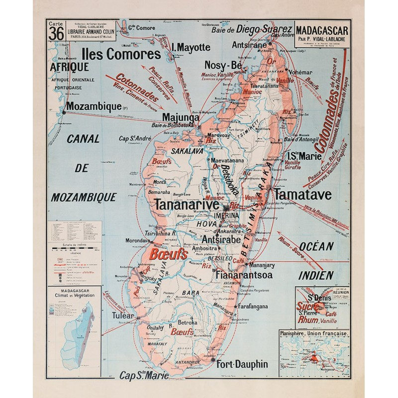 Carte Vidal Lablache 36 - MADAGASCAR (reproduction ancienne carte scolaire)