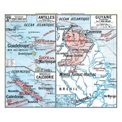 Carte Vidal Lablache 37 BIS - ANTILLES GUYANE NOUVELLE-CALEDONIE (reproduction ancienne carte scolaire)