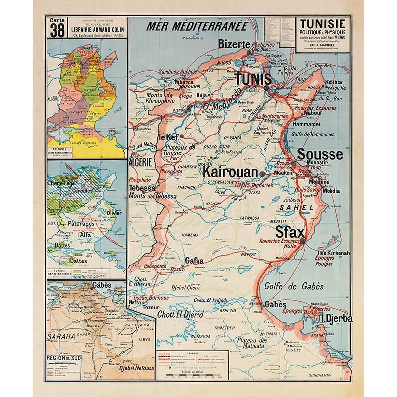 Carte Vidal Lablache 38 - TUNISIE - POLITIQUE ET PHYSIQUE  (reproduction ancienne carte scolaire)