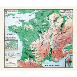 Carte Vidal Lablache 2 - FRANCE COURS D'EAU (reproduction ancienne carte scolaire)
