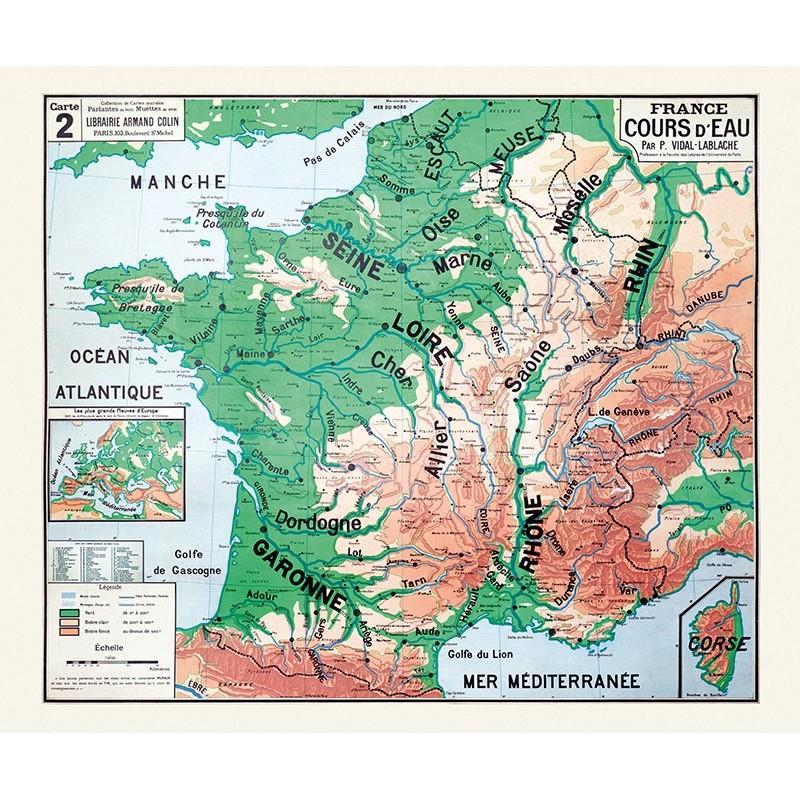 Ancienne carte scolaire Vidal Lablache n° 2 - FRANCE COURS D'EAU Dimensions 120 x 100 cm Support ...