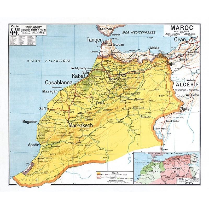 Carte Vidal Lablache 44 BIS - MAROC POLITIQUE (reproduction ancienne carte scolaire)