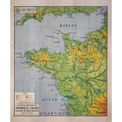 Carte Vidal Lablache 60 - FRANCE DE L'OUEST - PHYSIQUE (reproduction ancienne carte scolaire)