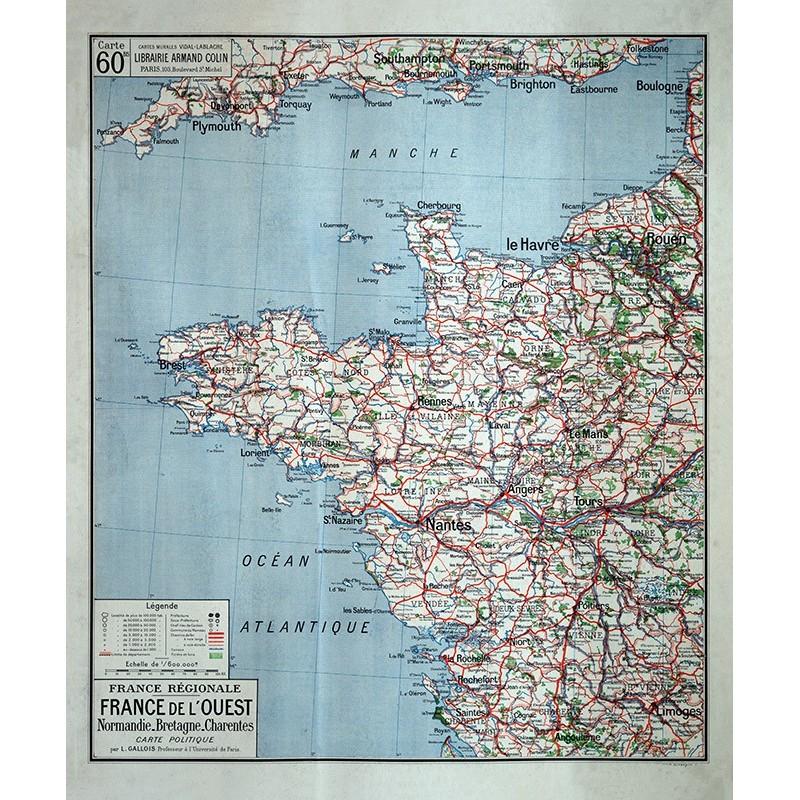 Carte Vidal Lablache 60 BIS - FRANCE DE L'OUEST - POLITIQUE (reproduction ancienne carte scolaire)