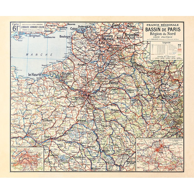 Carte Vidal Lablache 61 BIS - BASSIN DE PARIS - REGION DU NORD (reproduction ancienne carte scolaire)