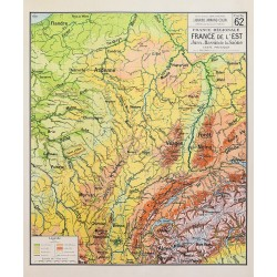 Carte Vidal Lablache 62 - FRANCE DE L'EST - PHYSIQUE (reproduction ancienne carte scolaire)