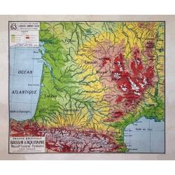 Carte Vidal Lablache 63 - BASSIN D'AQUITAINE - PHYSIQUE (reproduction ancienne carte scolaire)