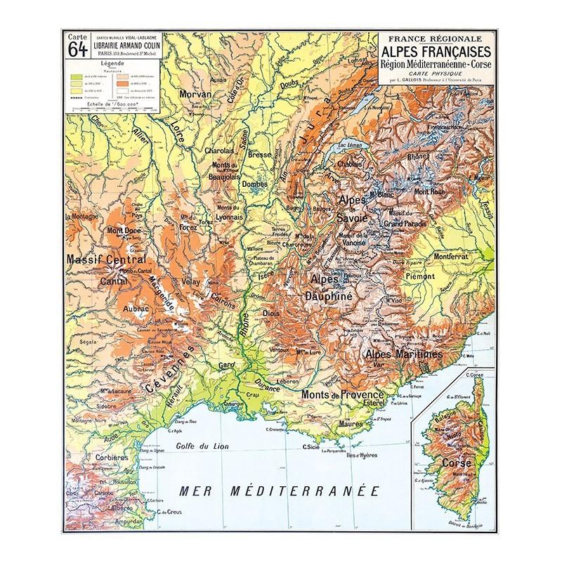 Carte Vidal Lablache 64 - ALPES FRANCAISES - PHYSIQUE (reproduction ancienne carte scolaire)