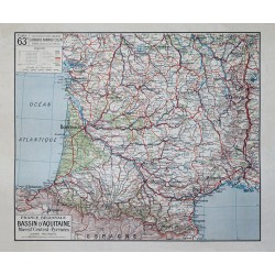 Carte Vidal Lablache 63 BIS - BASSIN D'AQUITAINE - POLITIQUE (reproduction ancienne carte scolaire)