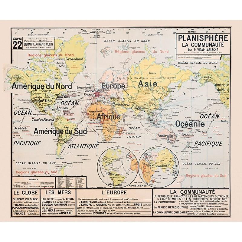 Carte Vidal Lablache 22 - PLANISPHERE LA COMMUNAUTE (reproduction ancienne carte scolaire)