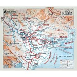 Carte Vidal Lablache 45 - DELTA DU TONKIN (reproduction ancienne carte scolaire)