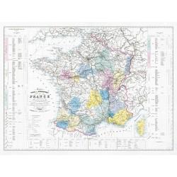 Carte VINICOLE et HYDROGRAPHIQUE de la FRANCE (reproduction ancienne carte scolaire)