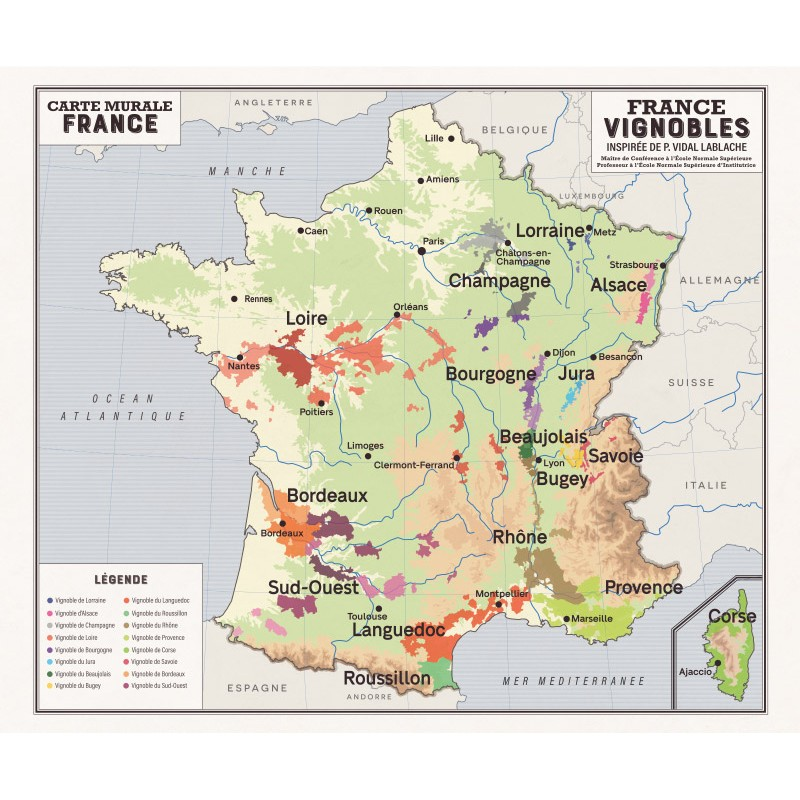 Carte d'inspiration Vidal Lablache - FRANCE VIGNOBLES (inspirée de P. Vidal-Lablache)