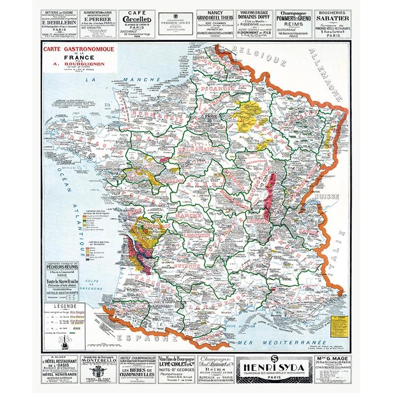 Carte GASTRONOMIQUE de la FRANCE (reproduction ancienne carte scolaire)