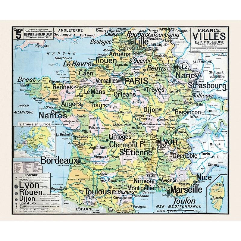 Carte Vidal Lablache 5 - FRANCE VILLES (reproduction ancienne carte scolaire)