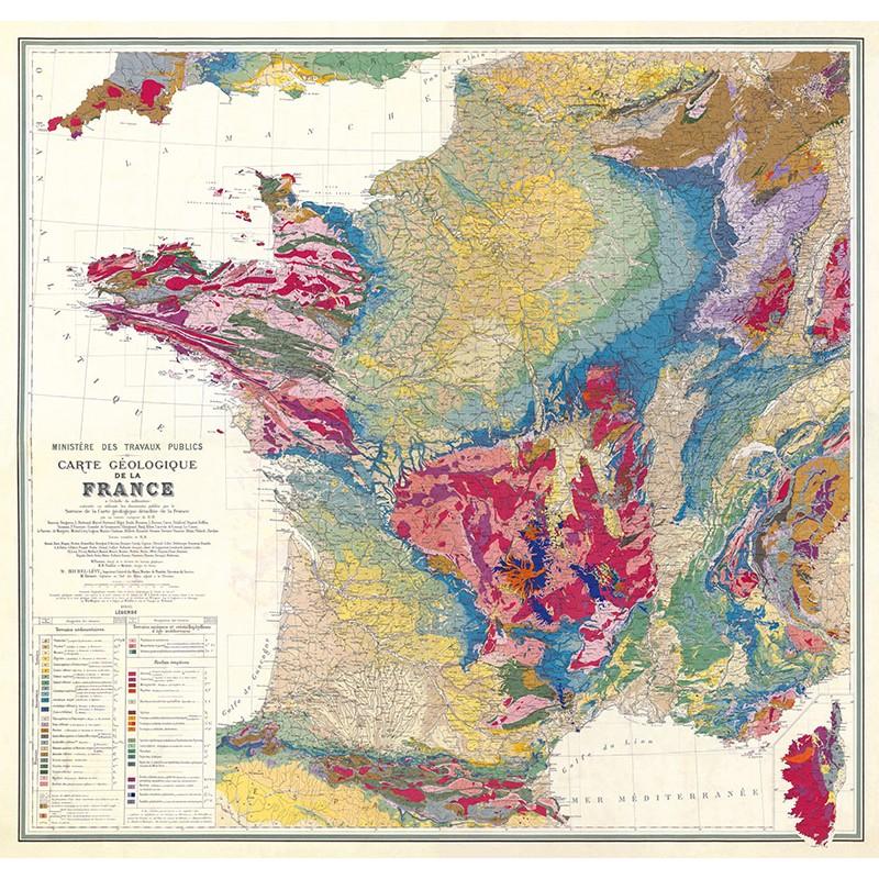 Carte GEOLOGIQUE de la FRANCE (reproduction ancienne carte scolaire)
