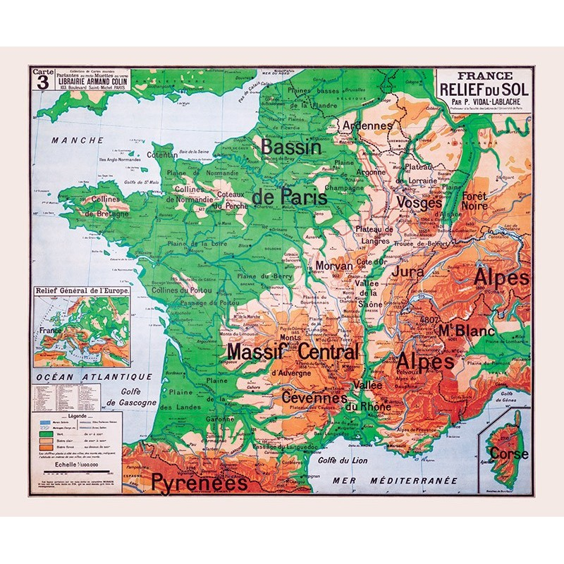 Carte Vidal Lablache 3 - FRANCE RELIEF DU SOL (reproduction ancienne carte scolaire)