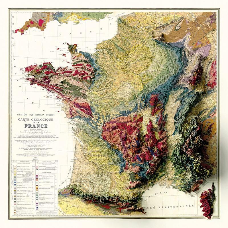 Carte Géologique de la France 3D - (effet 3D)