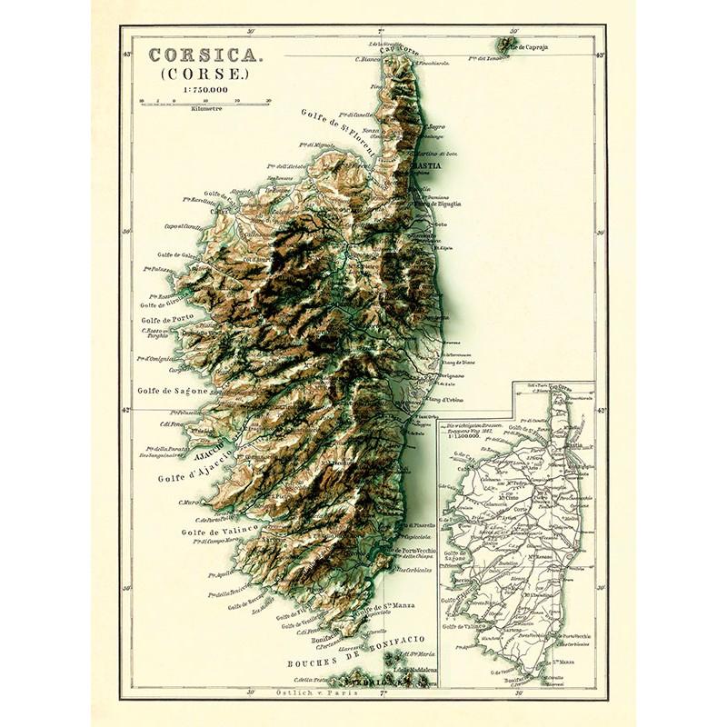 Carte de la CORSE - Effet 3D (reproduction ancienne carte scolaire)