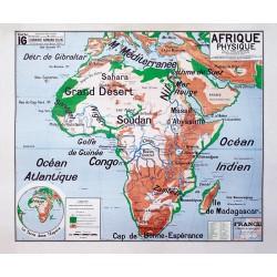Carte Vidal Lablache 16 - AFRIQUE PHYSIQUE (reproduction ancienne carte scolaire)