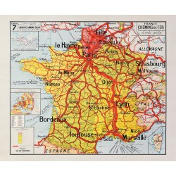 Carte Vidal Lablache 7 - FRANCE CHEMINS DE FER (reproduction ancienne carte scolaire)
