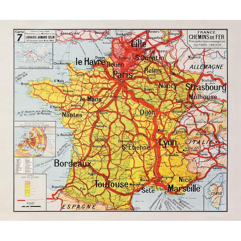 Carte Vidal Lablache 7 - FRANCE CHEMINS DE FER (reproduction ancienne carte scolaire)