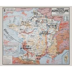 Carte Vidal Lablache 8 - FRANCE AGRICULTURE / VINS (reproduction ancienne carte scolaire)
