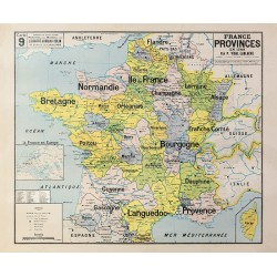 Carte Vidal Lablache 9 - FRANCE PROVINCES EN 1789 (reproduction ancienne carte scolaire)