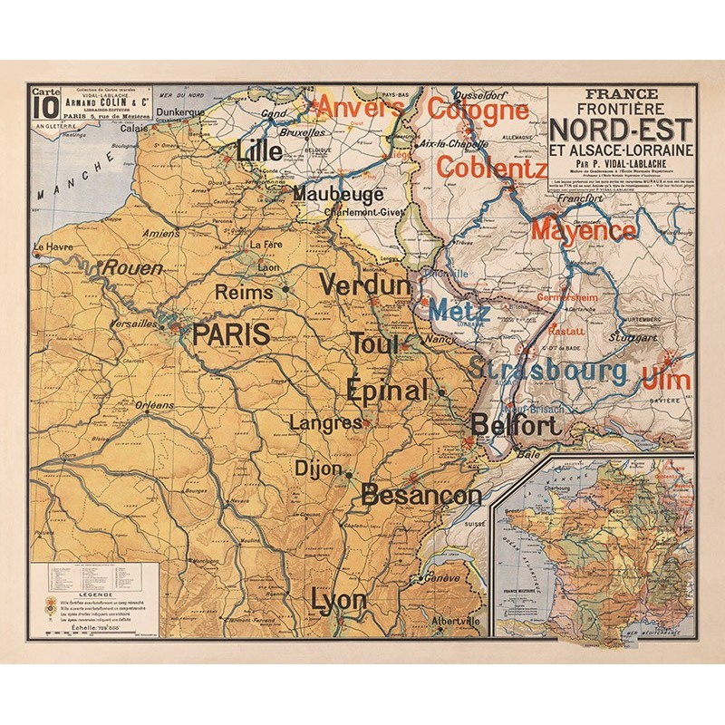 Carte Vidal Lablache 10 - FRANCE FRONTIERE NORD EST ET ALSACE LORRAINE (reproduction ancienne carte scolaire)